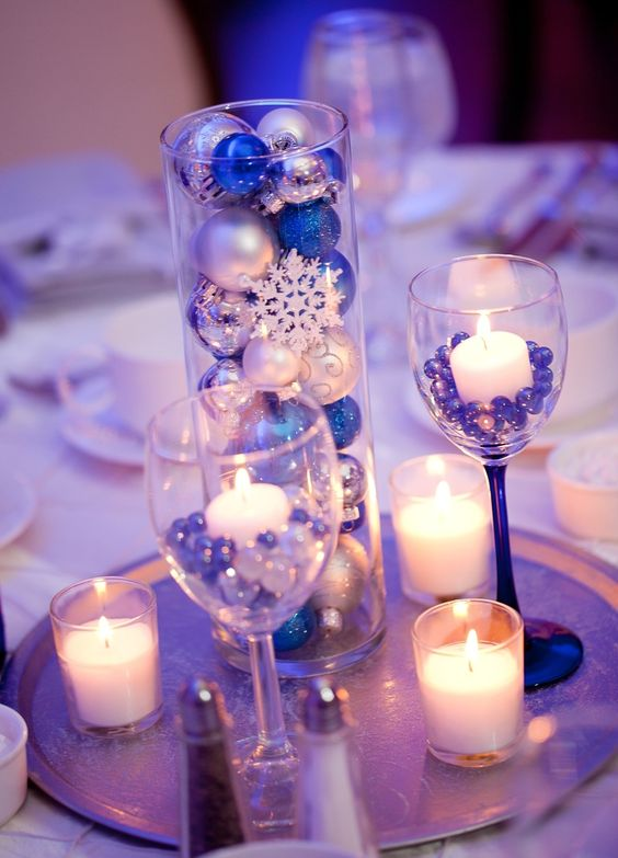 blue and silver winter wonderland centerpiece with ornaments