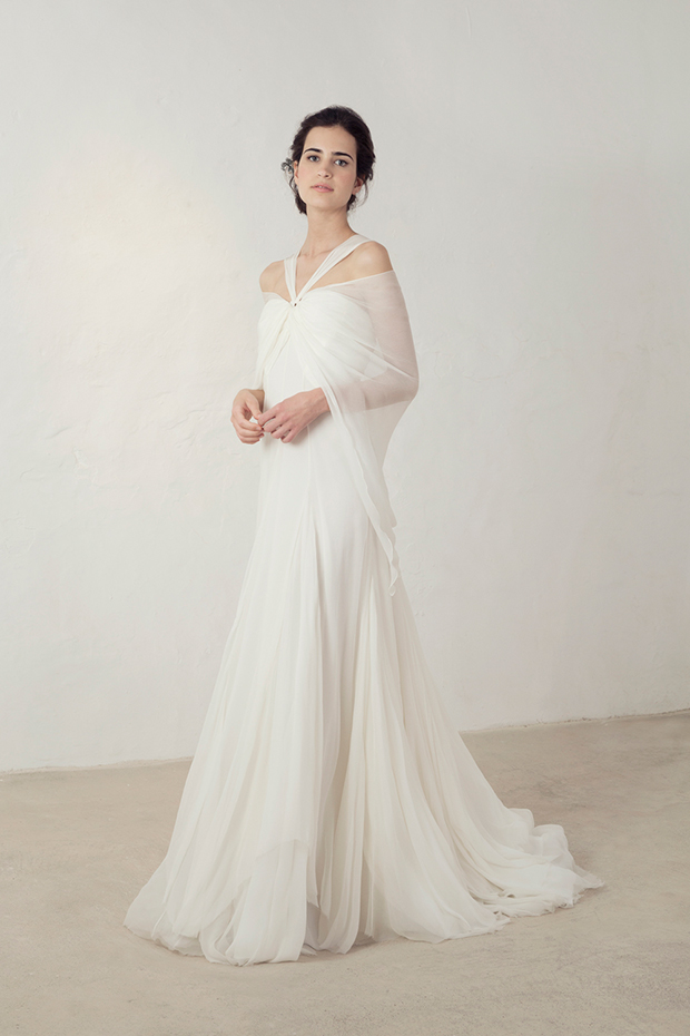 Tulle wedding dress with a cover over it