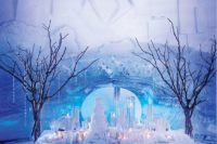 11 crystal garlands and faux snow with candles will help you to create an ambience