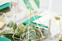 11 gold straws diamond table numbers with succulents inside