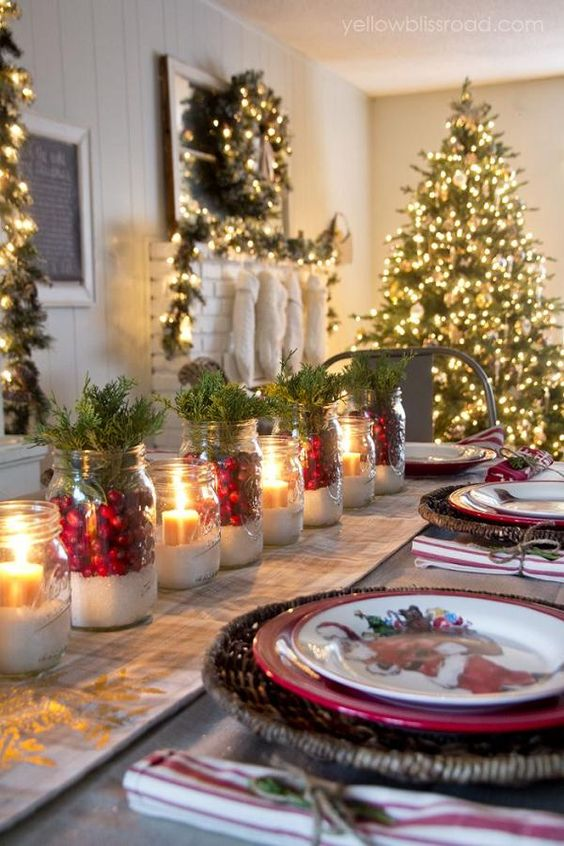 salt, cranberries and fir for decorating the table