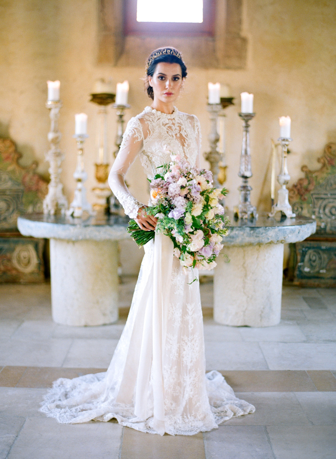 sheath illusion neckline wedding dress with lace appliques by Inbal Dror