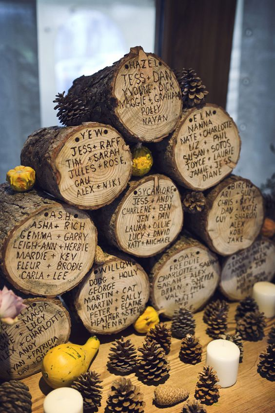 woodland wedding seating chart burnt on wood logs