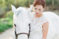 12 A gorgeous white horse became an important part of the wedding shoot