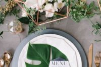 12 copper metal geo centerpieces with freshflowers and greenery