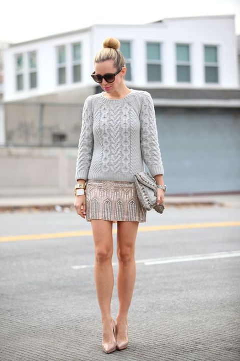 glitter mini skirt, a grey sweater and nude heels