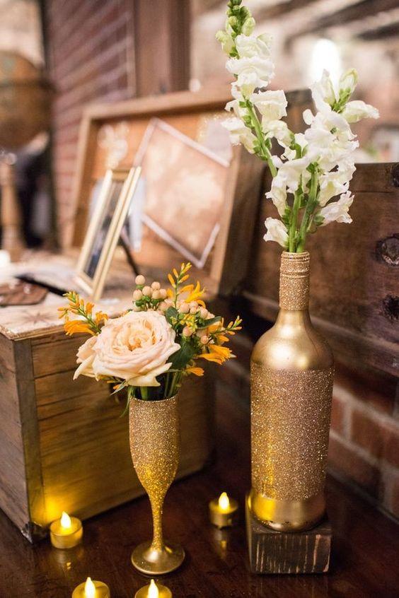 gold and glitter bottles and glasses for easy vases