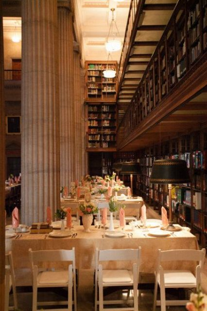 ibrary wedding in St. Paul, MN, the decor is very elegant