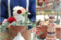 13 A flower decorated cake, a pastry tower and ripe southern peaches are right what you need for a summer wedding