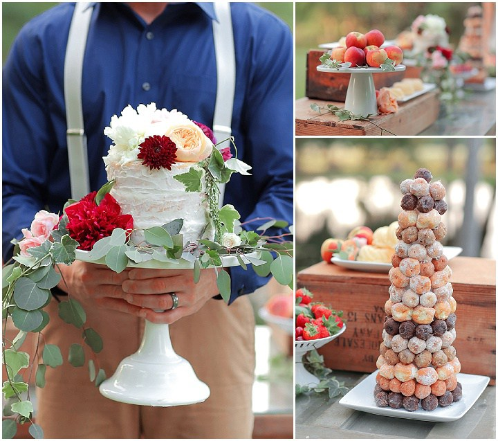 A flower decorated cake, a pastry tower and ripe southern peaches are right what you need for a summer wedding