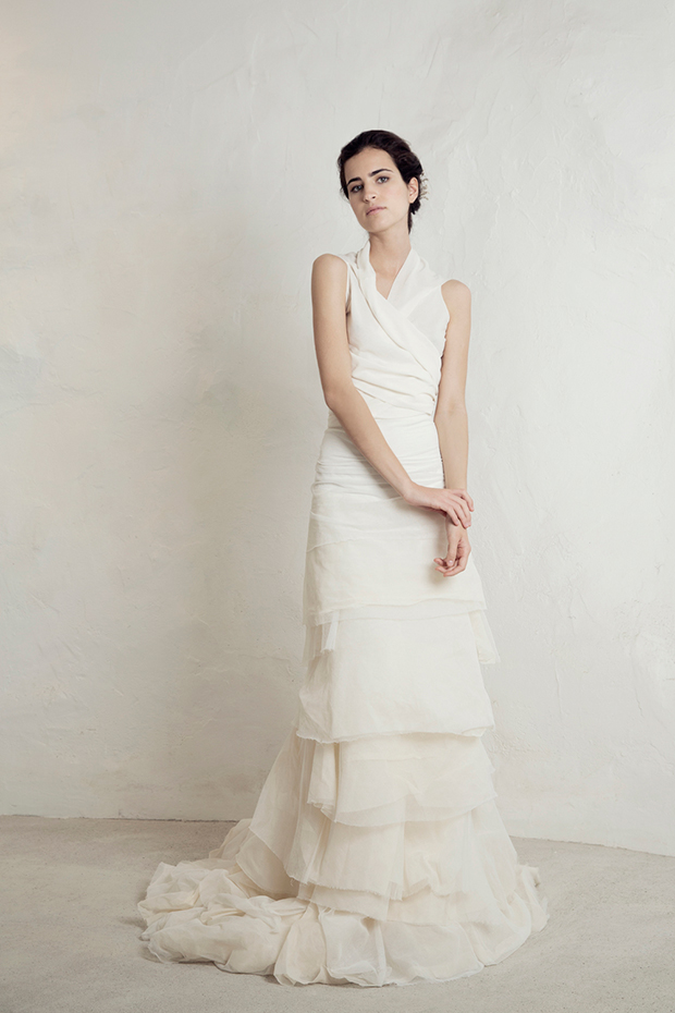 Layered tulle and satin wedding dress for a boho or modern bride