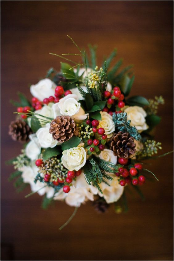 creative bouquet with pinecones and cranberries