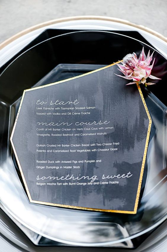 geometric menu with a gilded edge