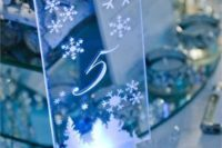 13 glass table numbers with snowflakes