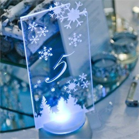 glass table numbers with snowflakes