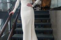 13 plain sheath wedding dress with bejeweled sleeves