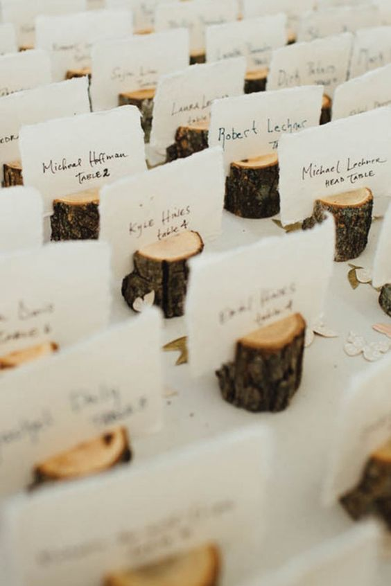 wood log place card holders are perfect for woodland and rustic nuptials