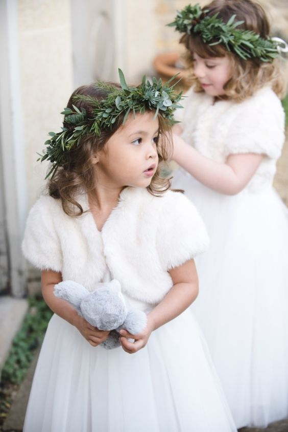 fur vests with cap sleeves for flower girls