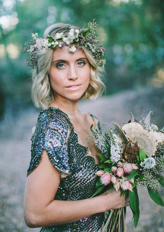 subtle and neutral wildflower crown for woodland winter brides