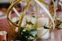 15 geometric gold sphere centerpiece  with flowers and candles