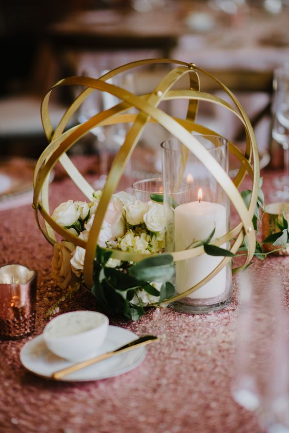 Picture Of Geometric Gold Sphere Centerpiece With Flowers