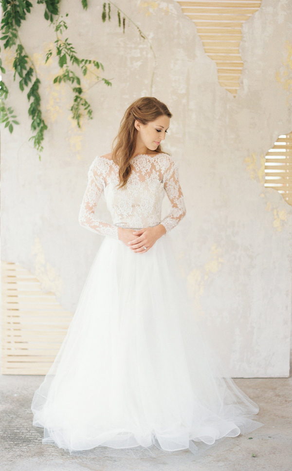 A line and illusion neckline lace top and a tulle skirt