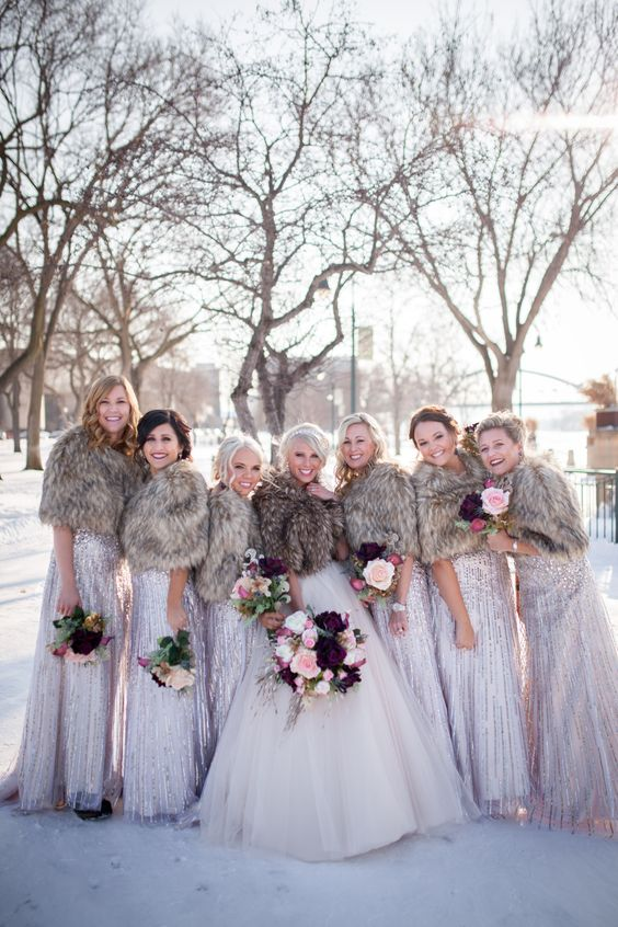 brown fur cover ups with glitter dresses look very delicate