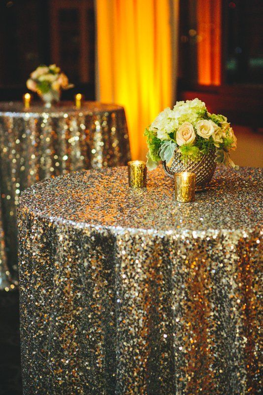 gold sequin tablecloths for reception