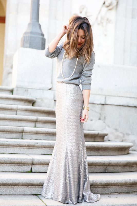 silver sequin maxi, a grey sweater and a strand of pearls
