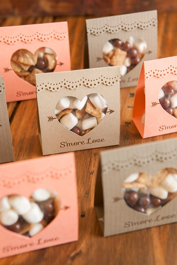 s'mores packed in cardboard packs with hearts