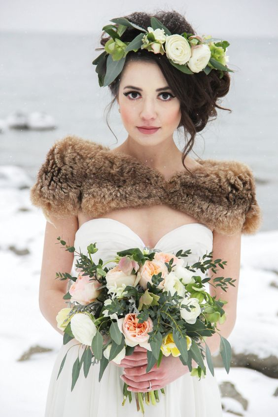 white ranunculus and green leaves crown looks gorgeous with a