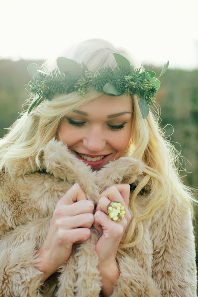 all green crown is perfect for field wedding locations to create a whimsical and boho feel