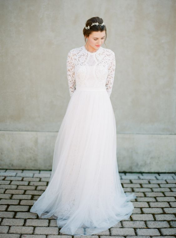34 long sleeve wedding dresses for fall and winter for Wedding dress skirt and top