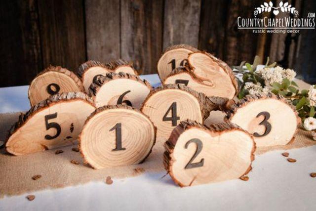 rustic wood slice table numbers