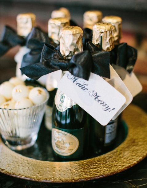 small champagne bottles for black tie and New Year affairs