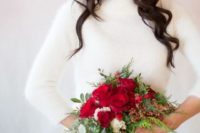 18 white angora sweater will match any winter bridal look
