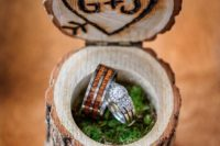 18 woodburnt stump ring box filled with moss