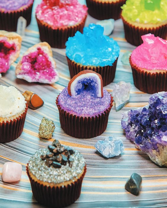 crystal and geode wedding cupcakes in bold shades