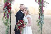19 eucalyptus leaves and bold red flowers are ideal for a Christmas wedding