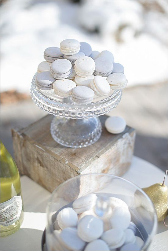 white and silver macarons are a great treat for a winter beach wedding