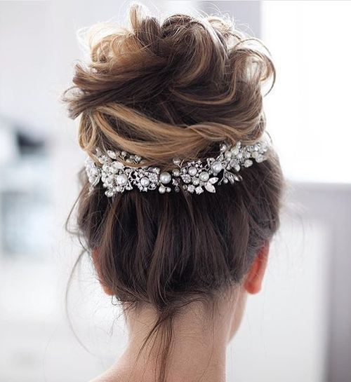 a messy updo will guarantee spoiling your hair a bit won't be noticed