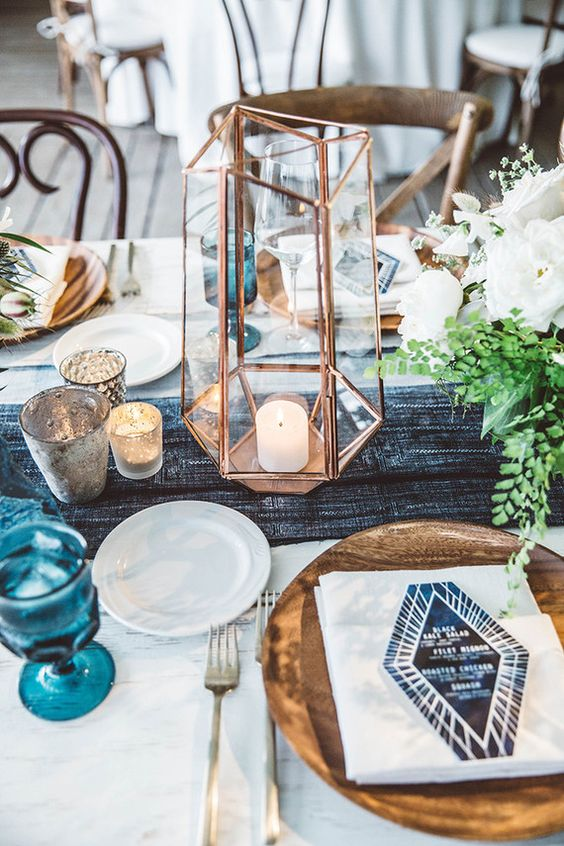 copper candle holder to decorate your wedding tables