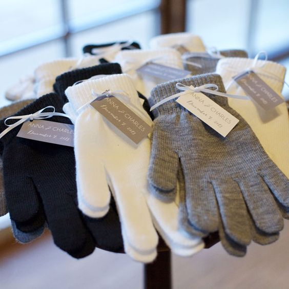 gloves will keep your guests warm at the ceremony and after it, too
