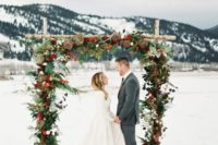 20 gorgeous outdoor wedding arch with leaves, fir, bold blooms and fruit