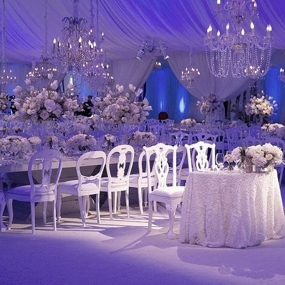 winter wonderland scene with crystal chandeliers and beautiful white blooms that filled this custom sheer : winter tent wedding - memphite.com
