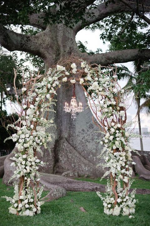 glam white flowers and brnaches arch with a chandelier to remind of snow in warmer climates