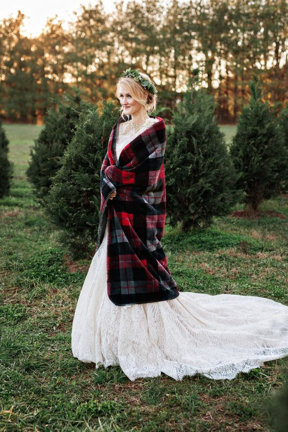 a plaid blanket can add to your Christmas bridal look