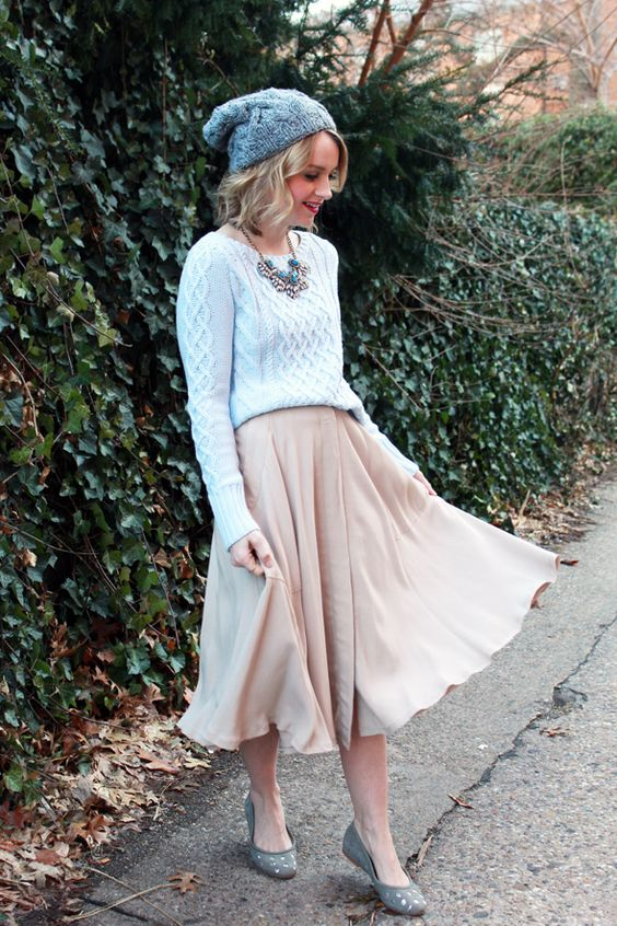 blush midi, a grey sweater, flats and a beanie