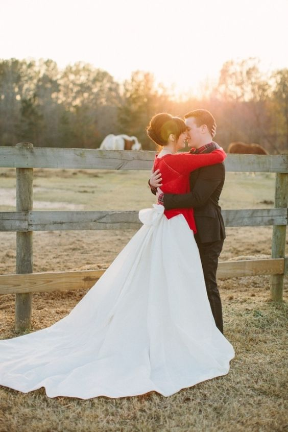 bold red cardigan for a Christmas bride