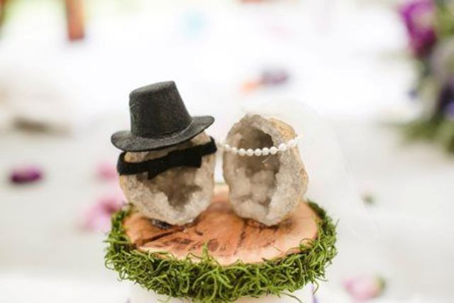 geode cake toppers are a fun alternative to usual ones